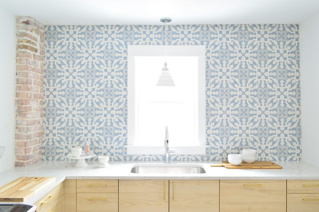 Full Wall Of Blue Patterned Backsplash Tile From Tile Bar