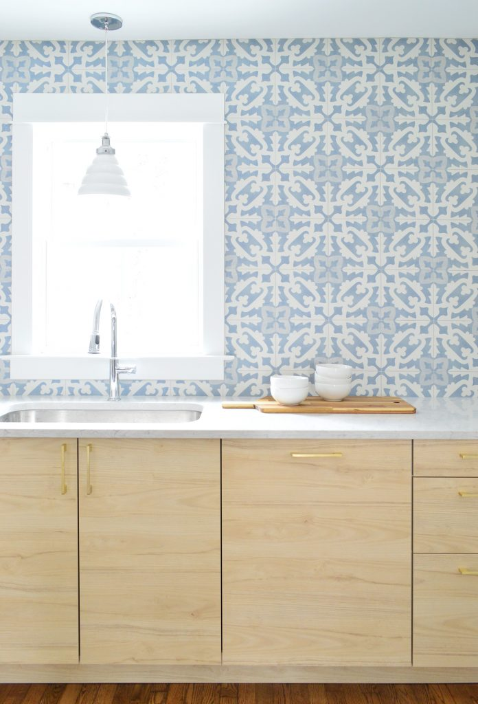 Wood Ikea Cabinets With Blue Patterned Backsplash Tile From Tile Bar