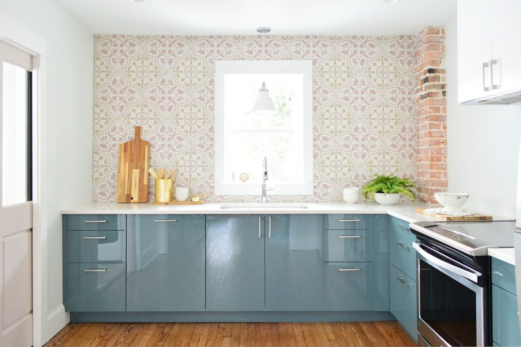 Pink Tile Bar Backsplash Installed In Blue Ikea Kitchen