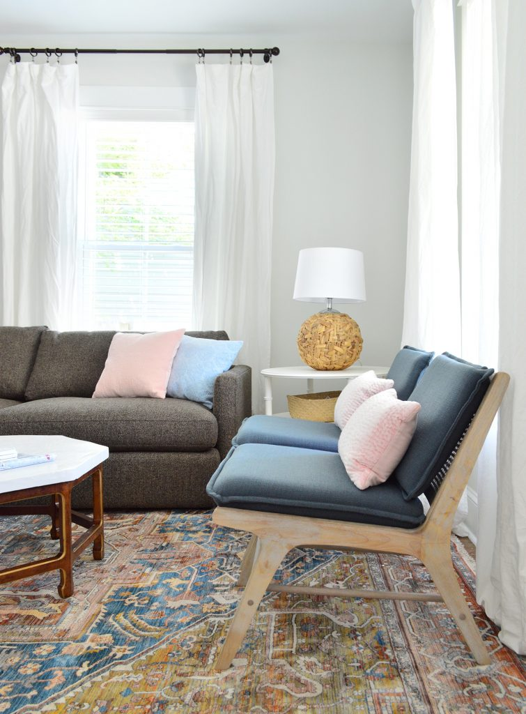 Blue Target Accent Chairs On Neutral Rug