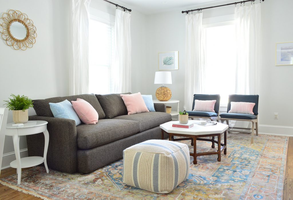 Duplex Living Room With Neutral Traditional Rug Crate And Barrel Sofa