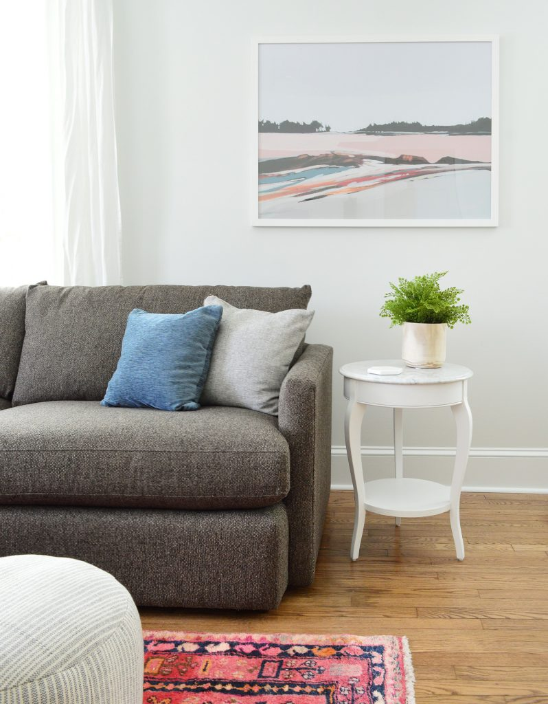 Juniper Print Shop Art In Bright Living Room With Marble Table Crate And Barrel Sofa