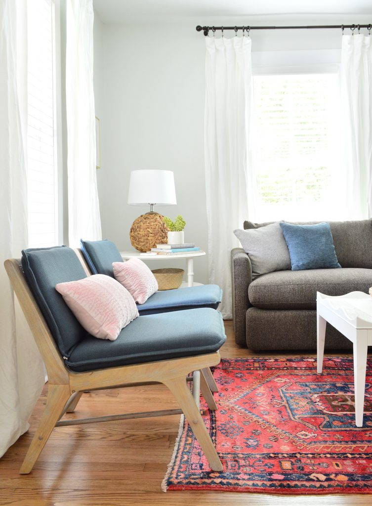 Blue And Wood Target Accent Chairs In Bright Living Room