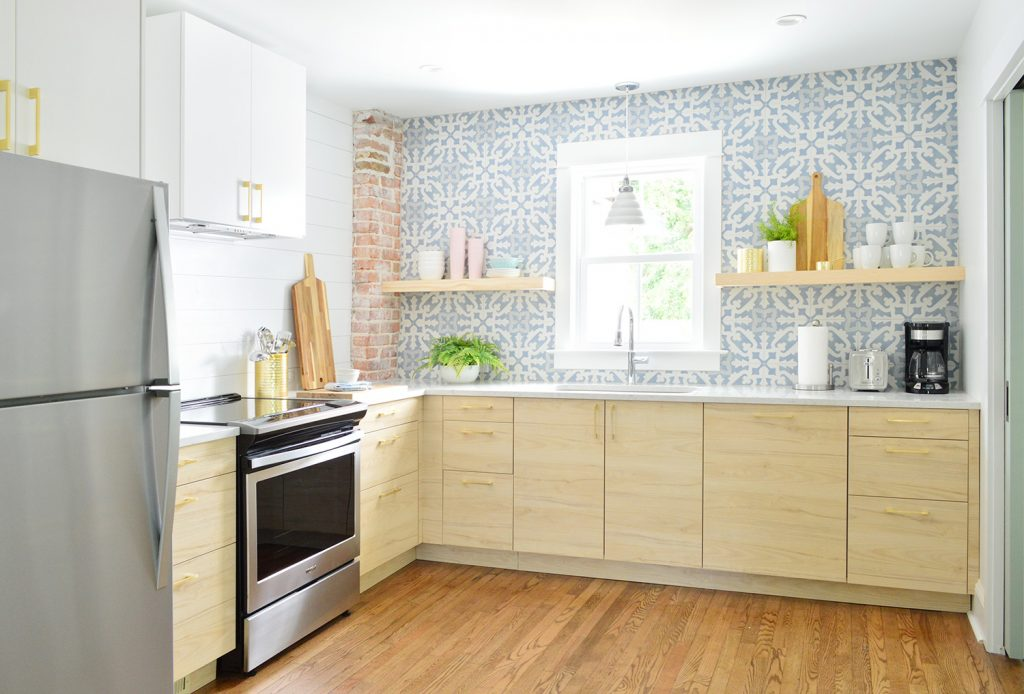 Wood Askersund Ikea Cabinets With Blue Tile Backsplash