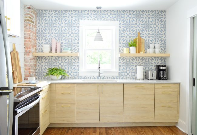 Duplex Kitchen With Blue Backsplash And Light Wood Ikea Cabinets