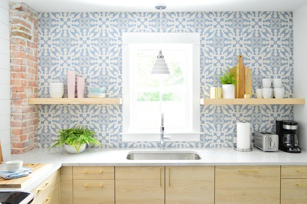 Blue Tile Backsplash With Open Wood Shelves In Duplex Kitchen
