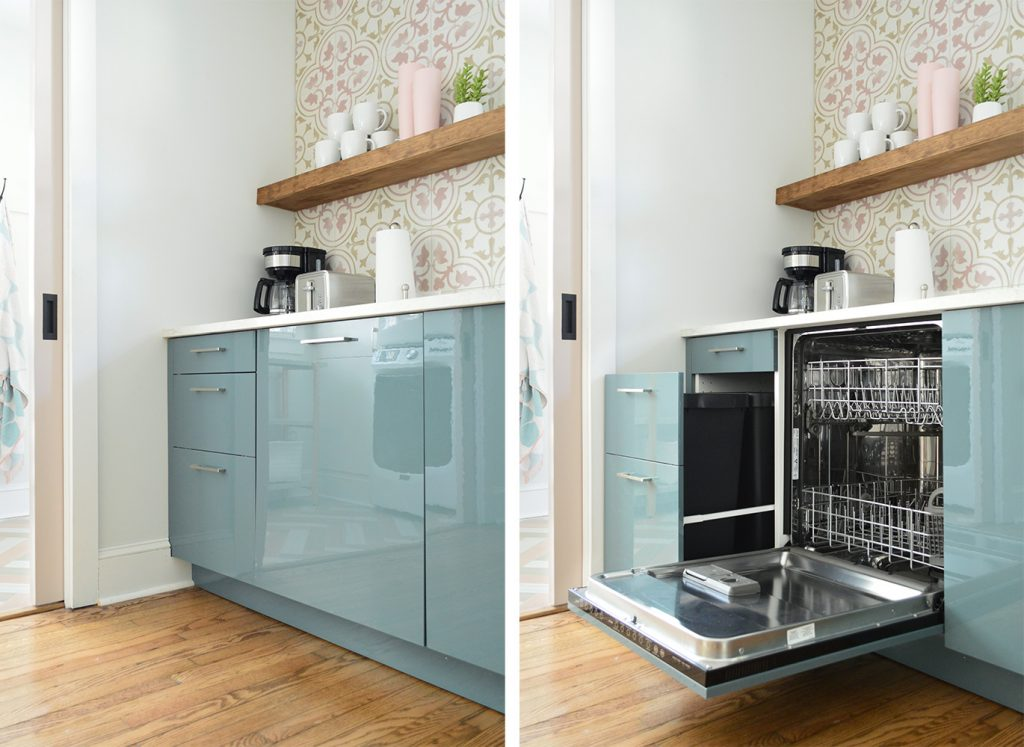 Cabinet Fronted Dishwasher And Trash Can In Ikea Kallarp Kitchen