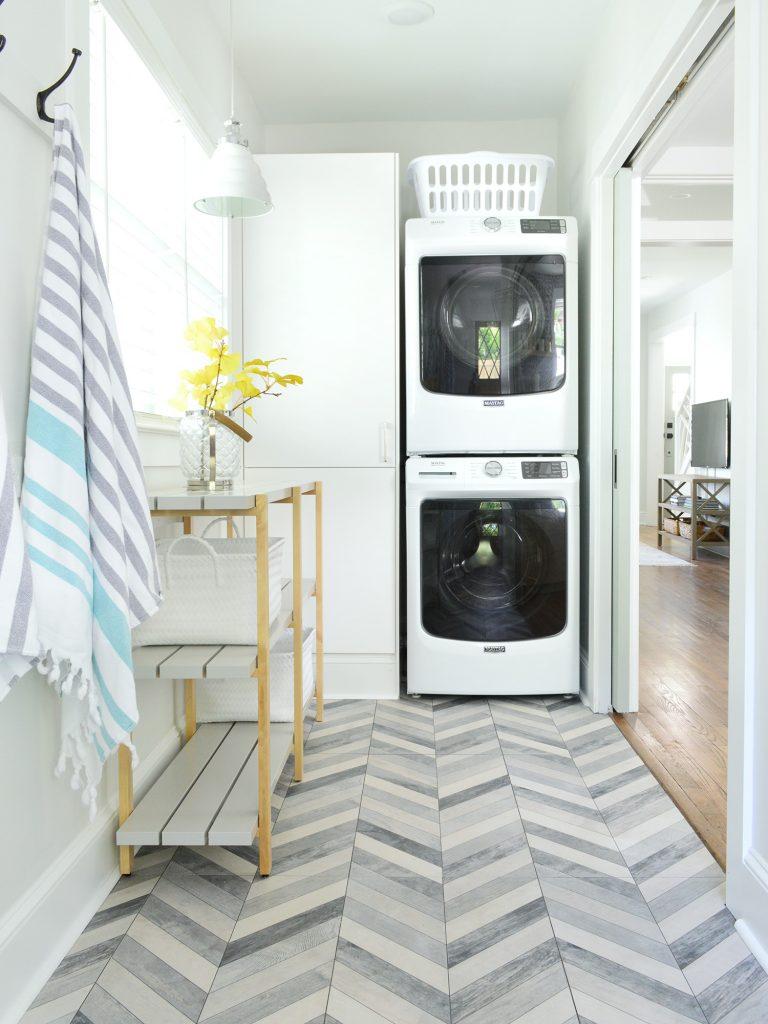 Duplex Laundry Room Chevron Floors Stacked Appliances