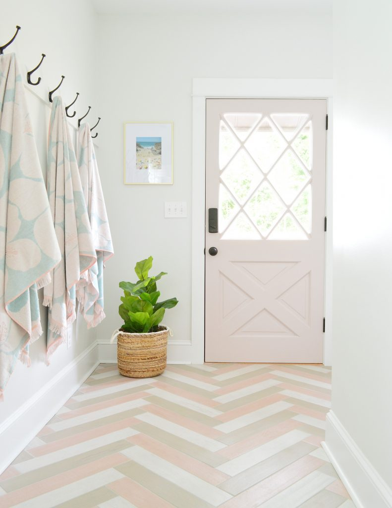 Pink Diamond Door In Mudroom With Herringbone Pink Tile Floor