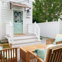 The Duplex Backyards – Patios, Sheds, & Outdoor Showers Galore!