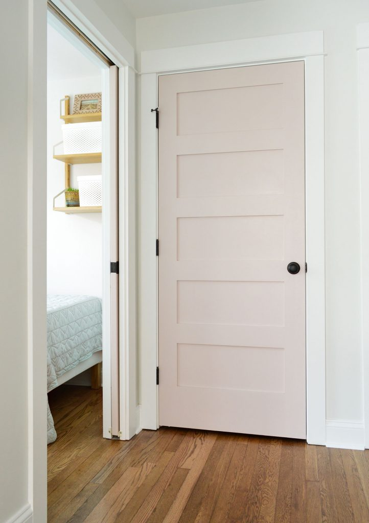 Duplex Hallway Linen Closet With SW White Truffle Door Closed