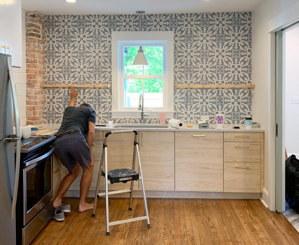 Drilling Into Your Tile Backsplash To Hang Diy Shelves Gasp Young House Love