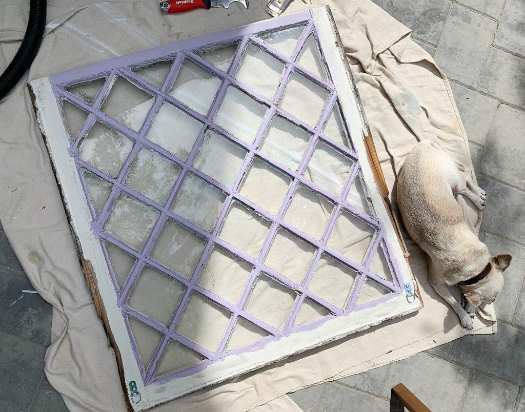 Old Diamond Paned Window With Dog Sleeping Next To It