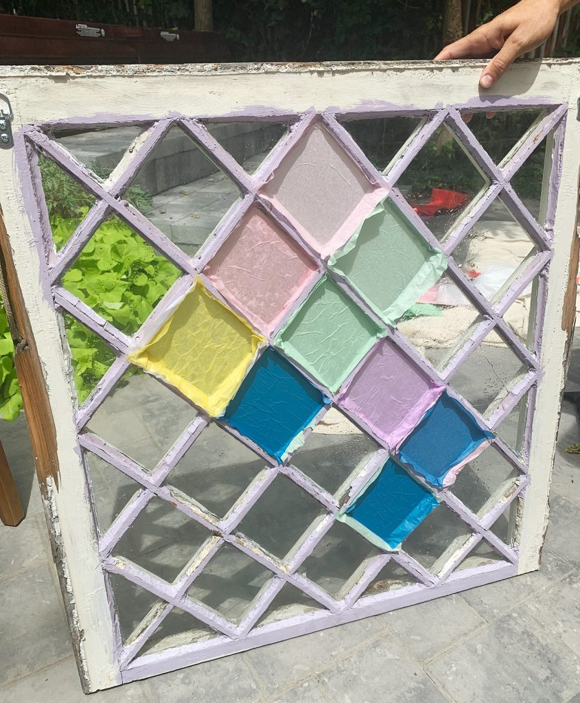 Back Of DIY Stained Glass Window With Crazy Bold Colors