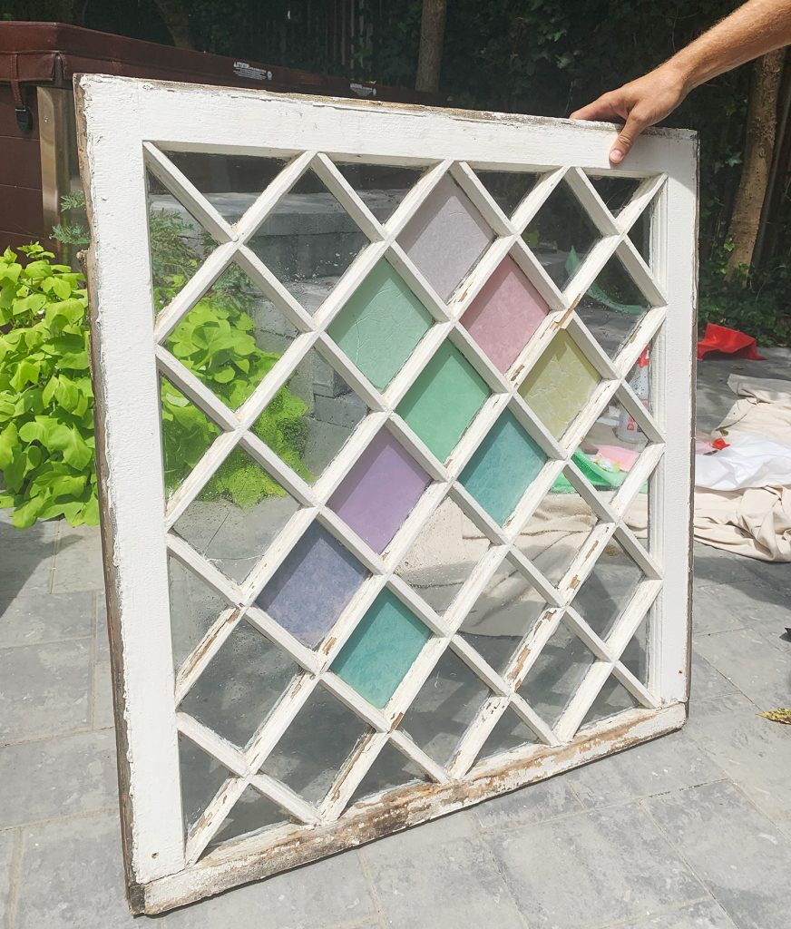 Front Progress On DIY Stained Glass Window With Subtle Colors
