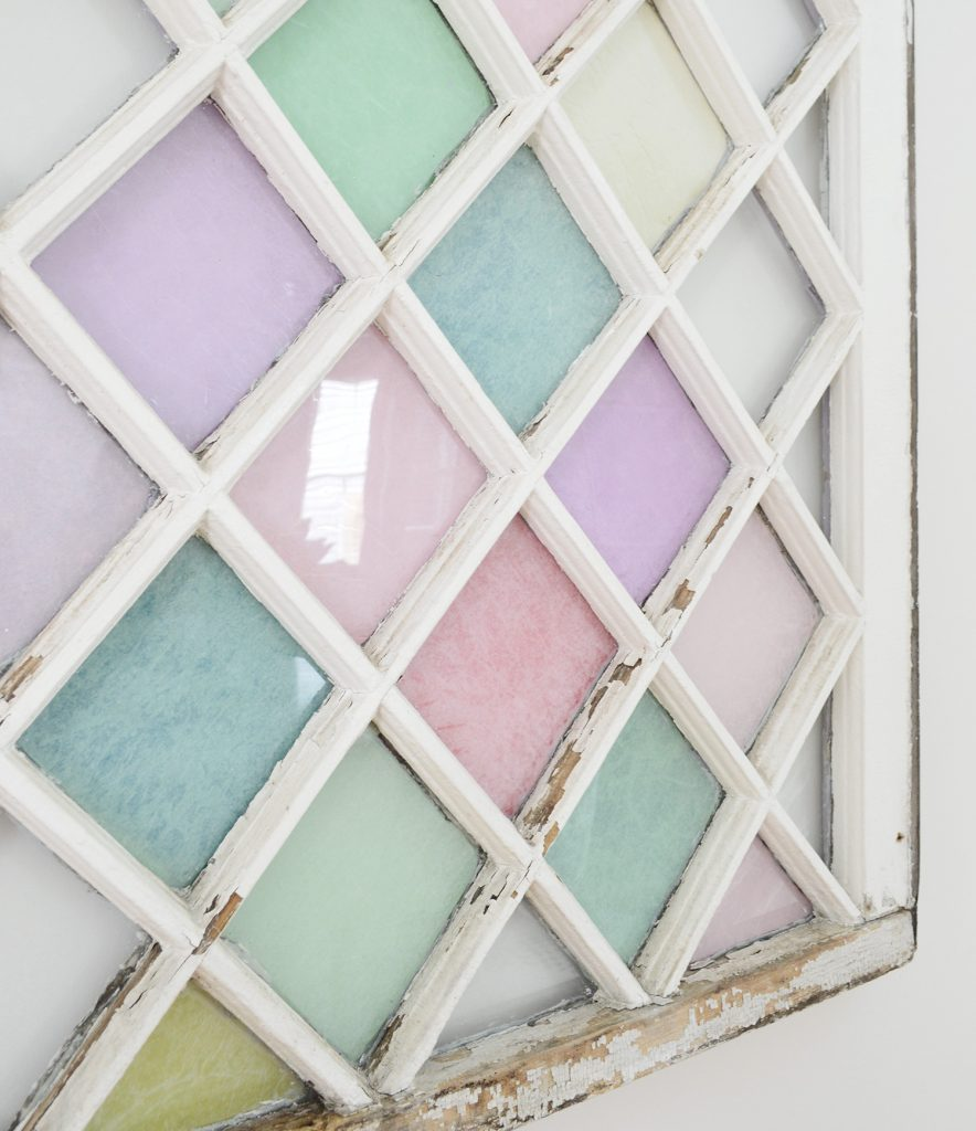 Side Detail Of DIY Stained Glass Diamond Window Wall Hanging