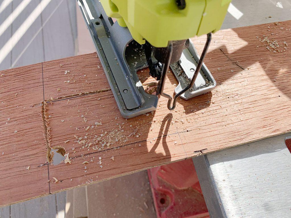 Cutting Hole In Back of Wood Strip using Jigsaw