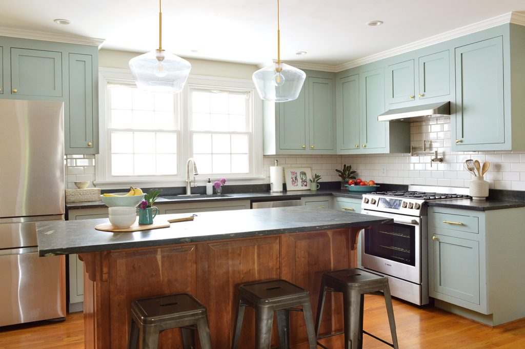 Halcyon Green Blue Kitchen Cabinet Makeover With Gold Hardware