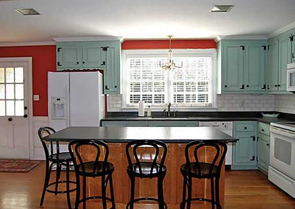 Before Photo Of Kitchen With Original Cabinet Color