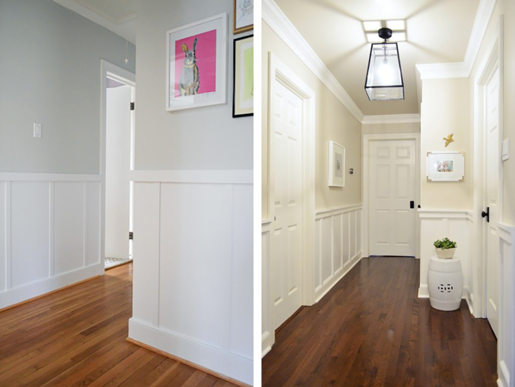 Two Examples Of Board And Batten Treatments In Hallways
