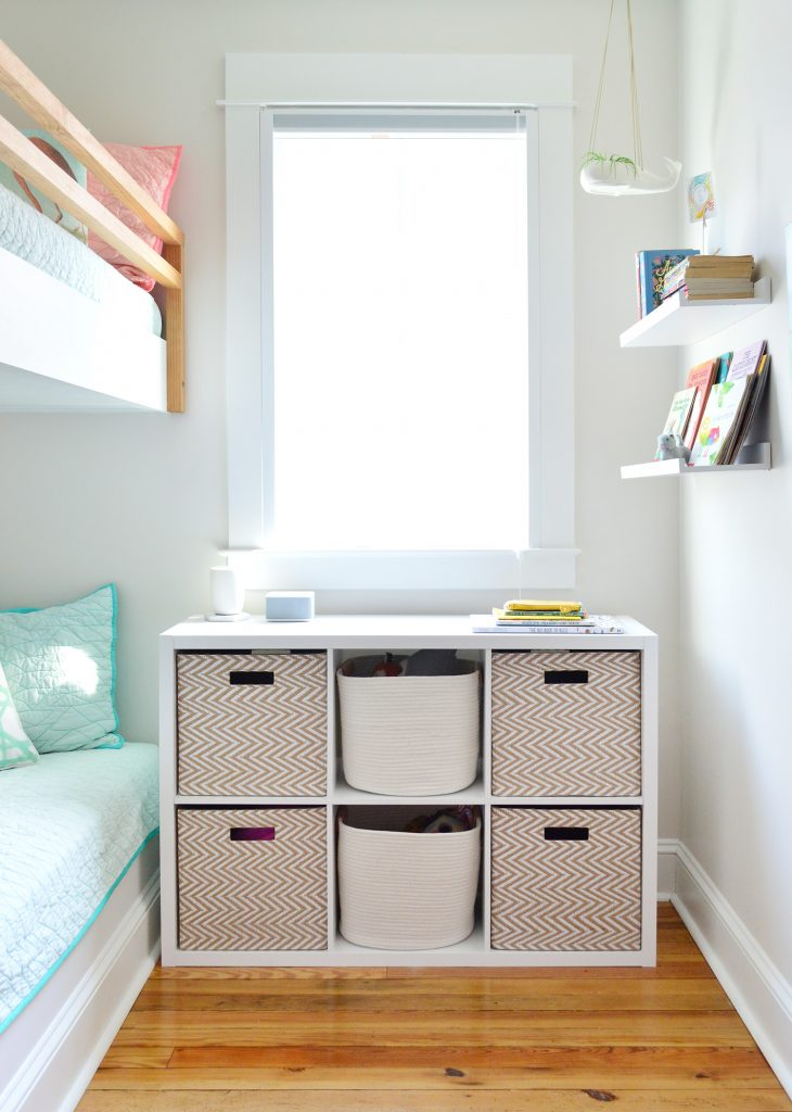 Six Cube Organizer Shelf In Kids Beach House Bunk Room