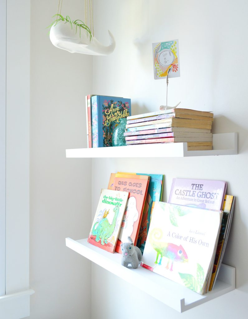Floating Bookshelves With Hangin Whale Planter In Kids Bunk Room