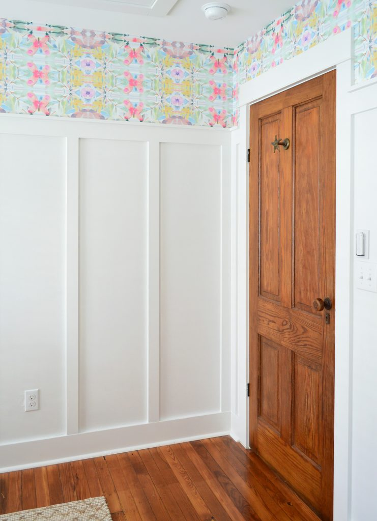 Wood Door In Room With White Board And Batten And Colorful Peel And Stick Wallpaper