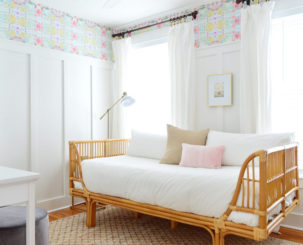 Beachy Bedroom With Rattan Daybed And Peel And Stick Wallpaper