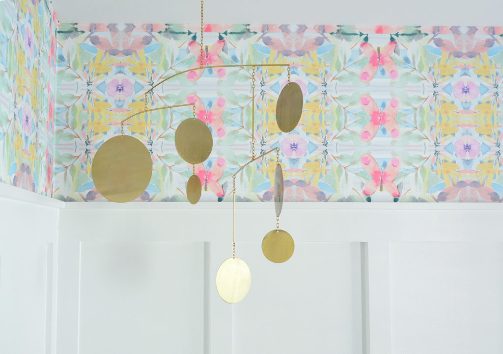Detail Of Peel And Stick Wallpaper With Gold Circle Mobile