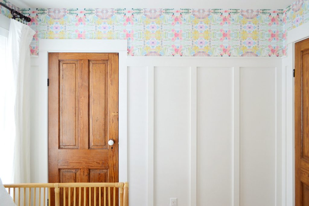 Peel & Stick Wallpaper Above Board And Batten With Two Wood Doors