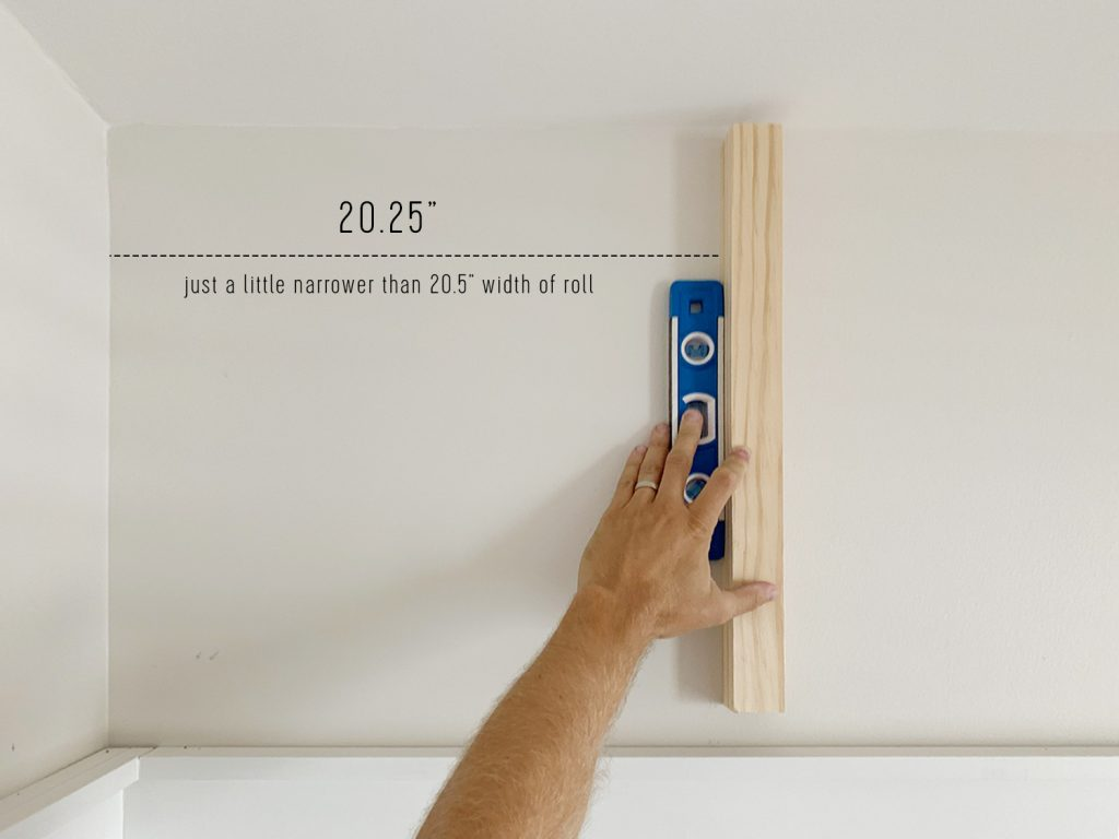 Measuring Vertical Line For First Sheet Of Peel And Stick Wallpaper