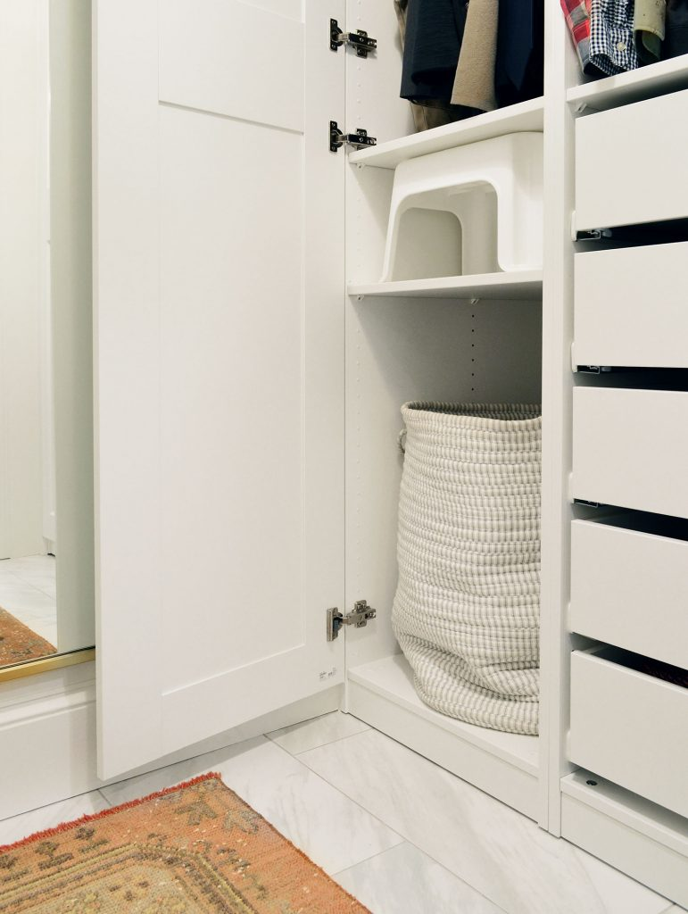 Hamper And Stool Storage In Ikea Pax Closet System
