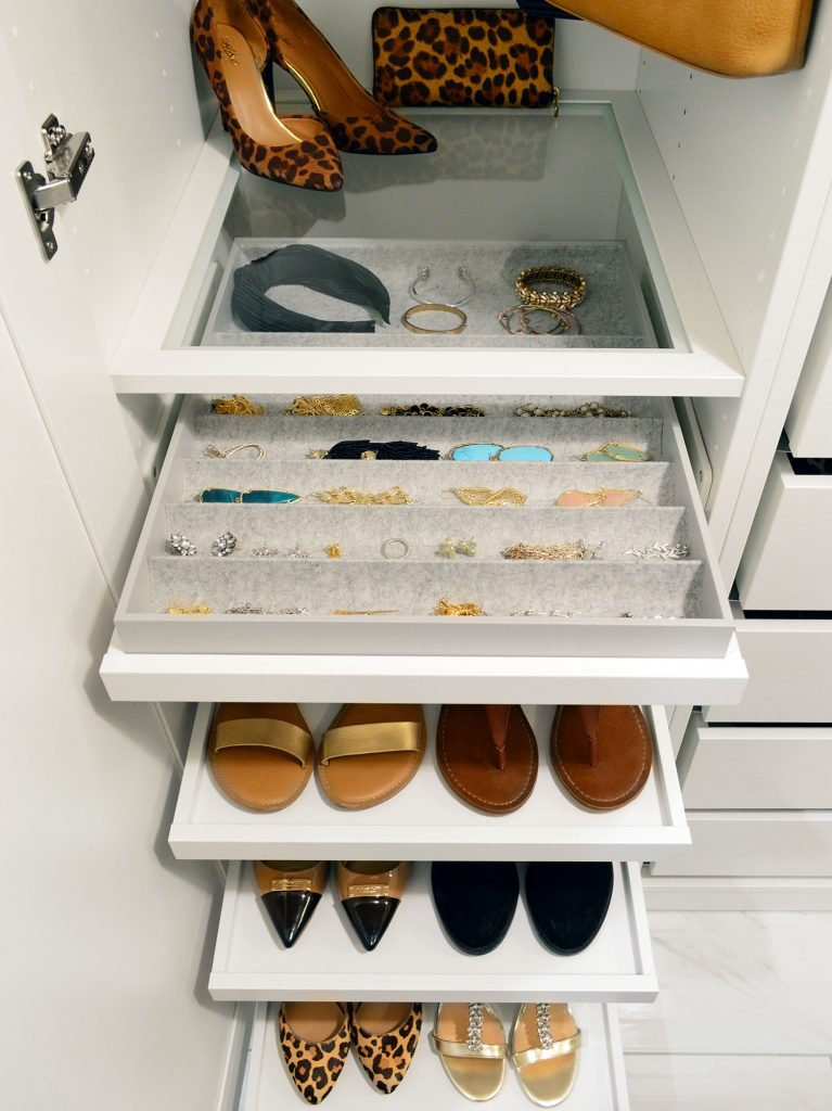 Overhead View Of Ikea Pax Jewelry Tray Organizer With Pull Out Shoe Trays