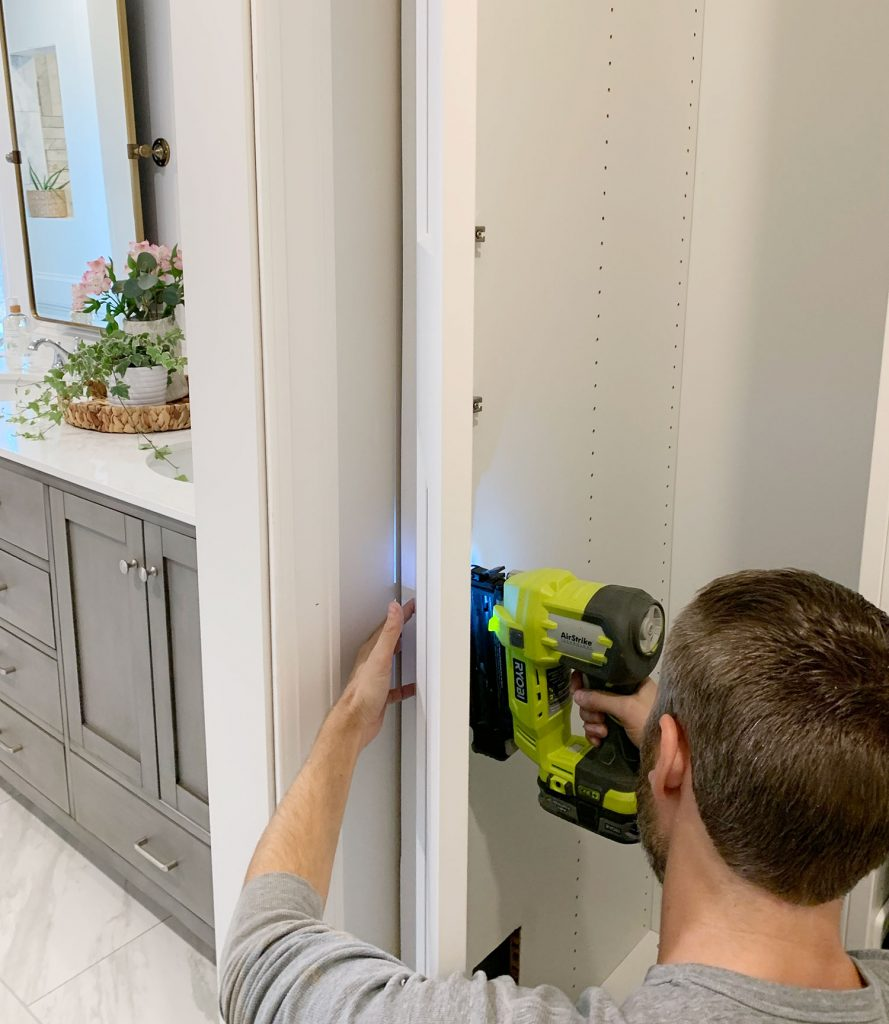 John Nailing Side Of Ikea Pax Wardrobe To Look Built In