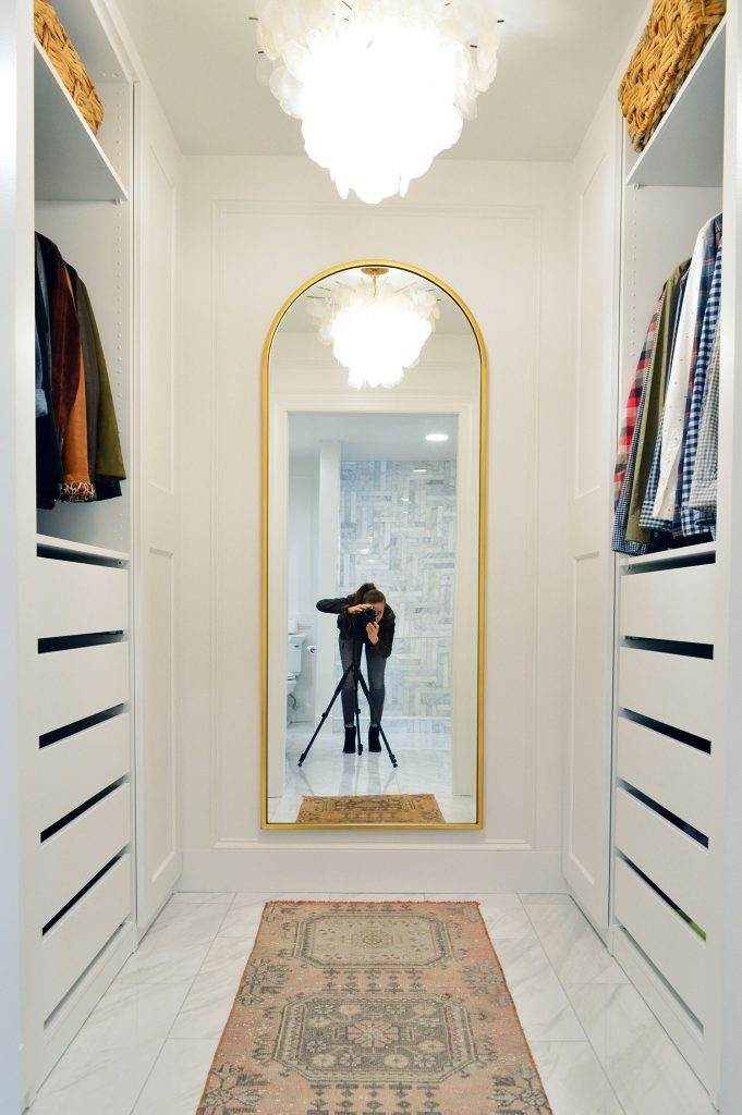 Full Shot Of New Ikea Pax Closet With Sherry And Tripod In Gold West Elm Arch Mirror