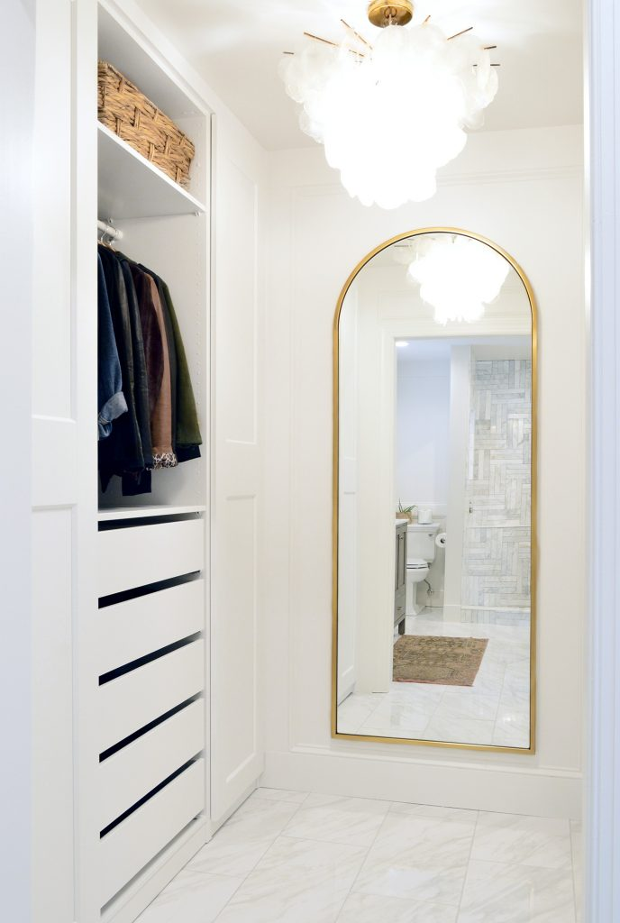 Ikea Pax Closet With Arched Brass Mirror In Master Closet