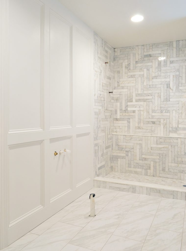 Master Bathroom Update With Missing Tub And Ungrouted Marble Shower