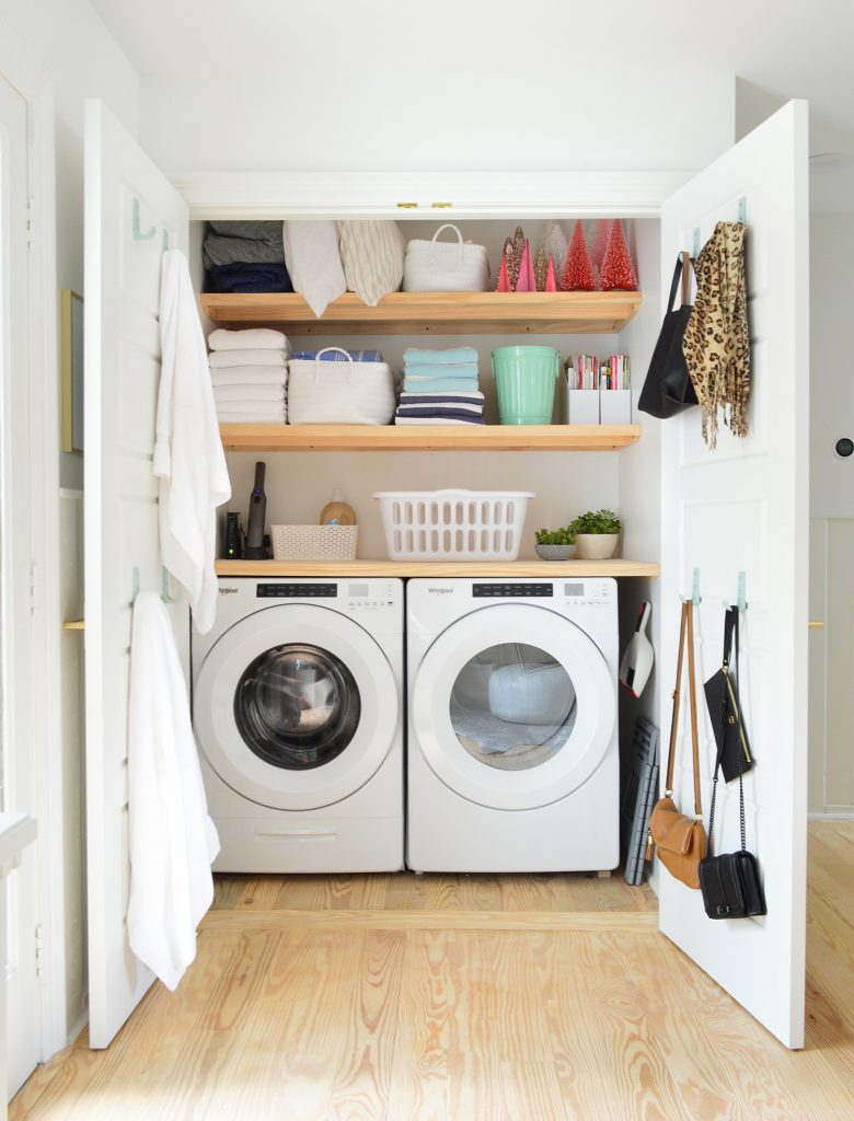 Some Quick Extremely Functional Laundry Closet Shelves Young House Love