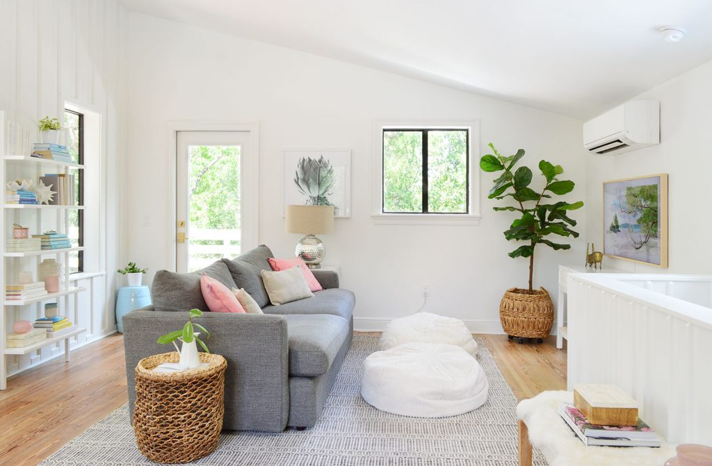 Beach Living Room With Gray Sofa And Faux Fig Tree