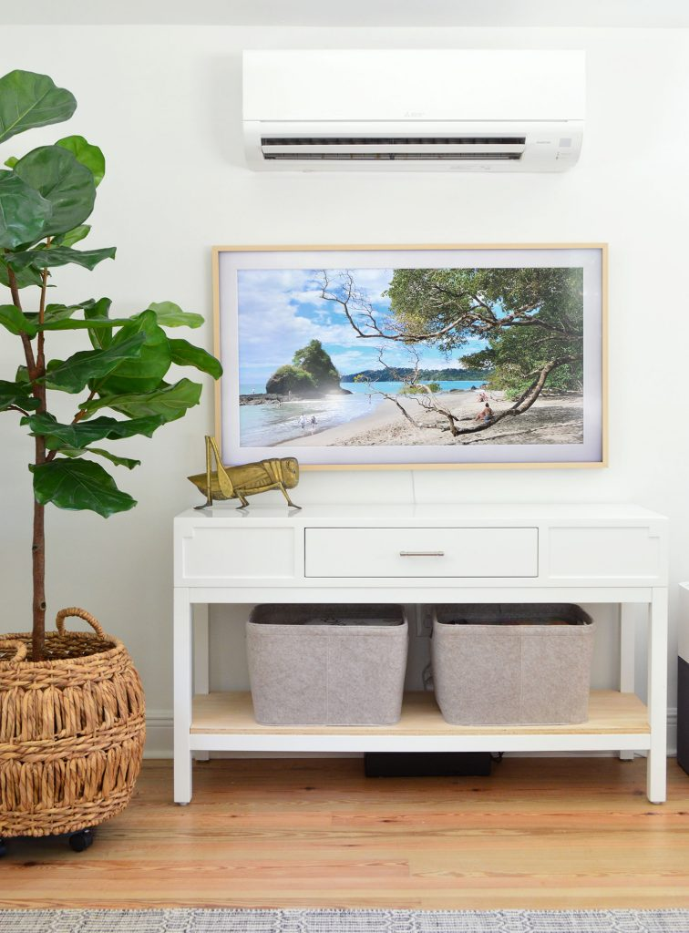 Samsung Frame TV Under Mini Split With Faux Fig Tree