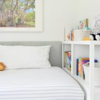 DIY Headboard + Custom Bookshelf = Cozy Built-in Kids Bed