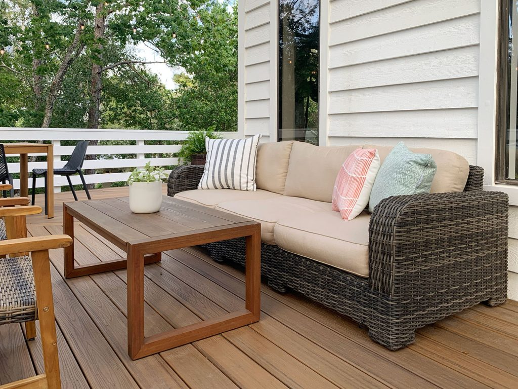Woven Outdoor Sofa With Cushions And Outdoor Pillows