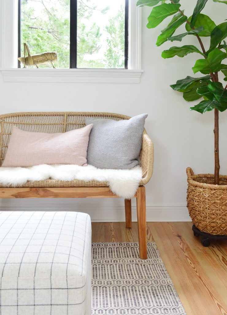 Front View Of Woven Bench With Fluffy Base Pillows And Fig Tree
