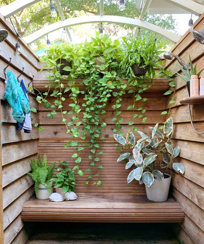 Wood Outdoor Shower With Cascading Planters And Bench