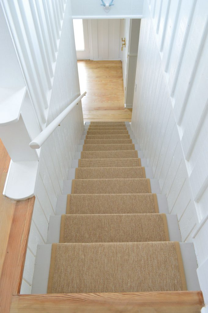 Straight Down View Of Finished Sisal Stair Runner From Above