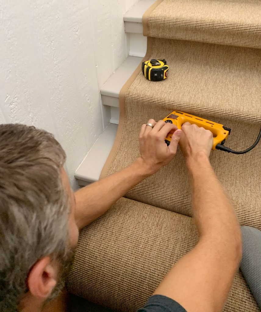 John Stapling Sisal Runner Under Lip of Stair Tread