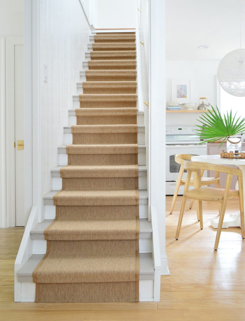 Finish Sisal Stair Runner On Staircase With Kitchen In Background