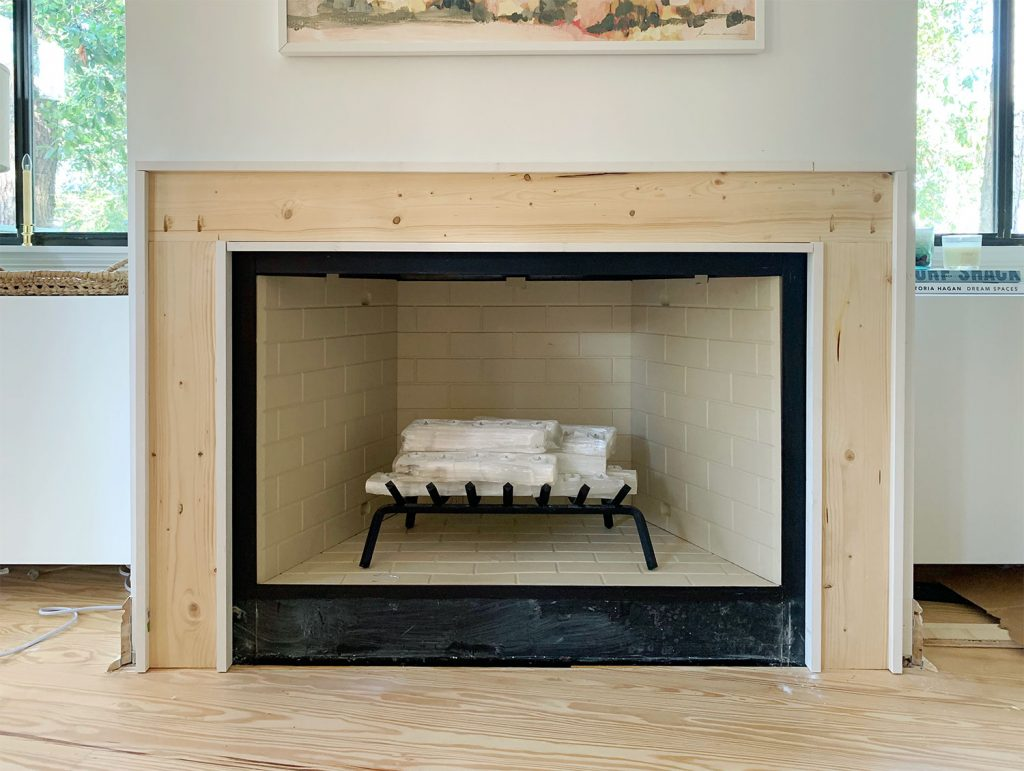 Completed Mantel Brace Piece With Border Of White 1x2 Wood