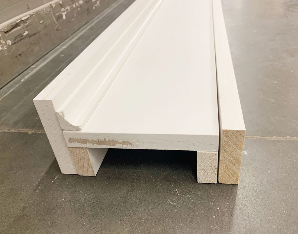 Piece of White Wood Stacked On Floor In Fireplace Mock Up