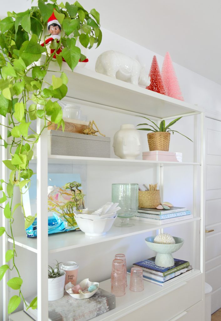 White Metal Kitchen Shelves With Plants Bottlebrush Trees and Elf On Shelf